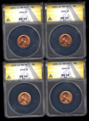 1941 Lincoln Cents Anacs 3 Ms 64 And 1942 Ms 64 4 Coins