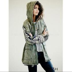 Women Spring Autumn Embroidered Hoodie Jacket Punk Military Regular Cape Coats