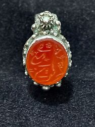 Antique Authentic Ottoman Arabic Gemstone Stamp Seal Ring Silver 19th Century