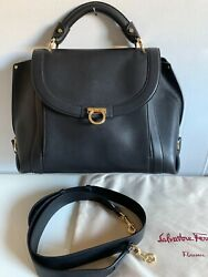 SALVATORE FERRAGAMO SOFIA BLACK SATCHEL CROSS BODY MEDIUM LEATHER HANDBAG $985.00
