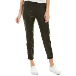 Sprwmn Nwt 1375 Black Striped Lambskin Leather Joggers/track Pants Large