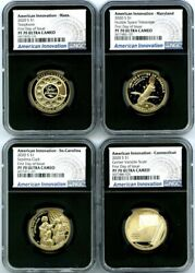 2020 S 1 Sc Ct Ma Md Ngc Pf70 Uc American Innovation First Day Issue 4-coin Set