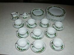 Vintage Lefton Holly China Service For Ten 10 Minus 1 Dinner Plate43 Pieces