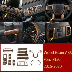 Wood Abs Inner Window Lift Buttonandsteering Wheel Panel Trim For Ford F150 2015+