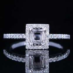 Fine Jewelry Natural Diamonds 4x4mm Cushion Semi Mount Ring Solid 18k White Gold