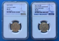 2019-w 5 Gold American Legion And 2017-w 5 Gold Boys Town Ngc Ms70