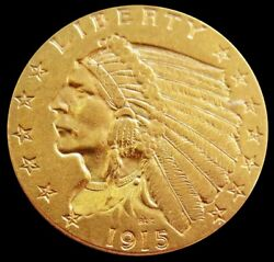 1915 P Gold Us 2.5 Dollar Indian Head Quarter Eagle Coin Philadelphia Mint