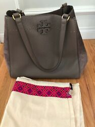 Tory Burch McGraw Mixed Materials Handbag Purse Silver Maple Leather Suede EUC $150.00