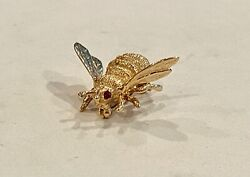 Sale_solid 14k Yellow Gold And Ruby Bumblebee Pin, See Other Jewelry, Gold And Coins
