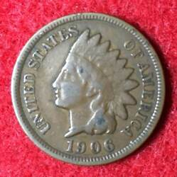 1906 Indian Head Cent Better Than Average Circulated Liberty Visible Lot Ihc06b