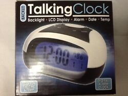 English Talking Speaking LOUD Alarm Clock Visually Impaired Blind Time Gift AAA