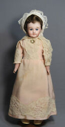 Antique France Lanternier Limoge Bisque Head 15 Leather Body Doll 1910and039s Wig