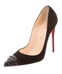 Nib Christian Louboutin Sold Out Black Suede Geo Pumps Heels 40