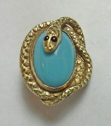Antique Art Nouveau Deco Turquoise Glass Jeweled Snake Cabochon Hat Pin Brooch