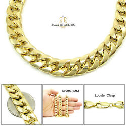 Mens Womens 10k Yellow Gold Miami Cuban Link Chain Necklace 8mm 26 - 32