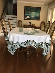 Christmas Extra Large Hand Embroidered French Linen Tablecloth And 24 Napkins