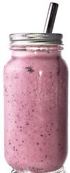 Boba Bubble Smoothie Cup Reg Mouth 24oz Glass Mason Jar Silver Straw and Lid $18.99