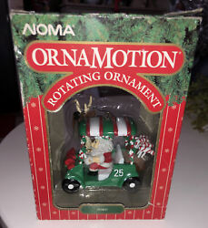 Vintage Noma Ornamotion Christmas Ornament Santa In Golf Cart With Motor 1989