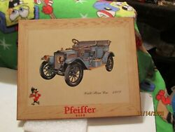 Vintage Pfeiffer Beer White Steam Car 1909 Sign 9 3/4 Tall By 11 3/4 Wide