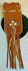 Vintage Native American Brown Beaded Medicine Pouch W/fringe