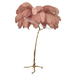 Led Ostrich Feather Floor Standing Light Table Lamp Copper Stand Base Home Decor