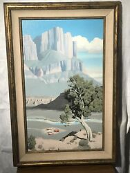 """Original Dennis Bannerson Oil Painting, """"river Ranch"""" O/b, Signed Lr"""