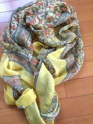 Hermes Mousseline Silk Stole Scarf Shawl Chasse En Inde Yellow Chiffon Woman 54