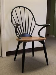 W.a. Mitchell Handmade Ebony And Maple Windsor Dining Chair Signed