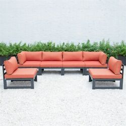 Leisuremod Chelsea 6-piece Sectional With Cushions In Orange