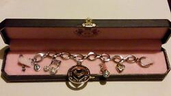 Juicy Couture Silver Music Note, Microphone, Puffed Heart Charms Bracelet