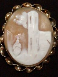 Large Antique Victorian Pinchbeck Italian Conch Shell Cameo Brooch Circa 1840s