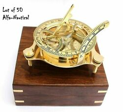 Lot Of 50 Unit Nautical Brass Sundial Compass 3'' Magnetic Compass W/wooden Box