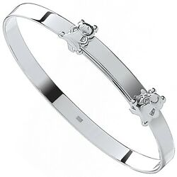New Silver Expandable Teddy Bears Baby Bangle
