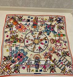 Hermes Authentic Carre 90 Wash Kachinas 100 Silk Scarf Stole Used From Japan