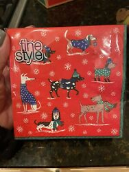 40 Cocktail Paper Napkins Christmas Dogs Holiday Cute Dachshund Beagle Basset