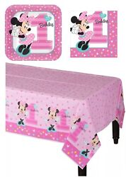 Minnie Mouse 1st Birthday Party Supplies Plates Napkins Tablecover Set