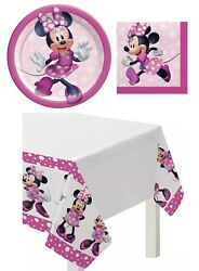 Minnie Mouse Kids Birthday Party Supplies Plates Napkins Tablecover Set