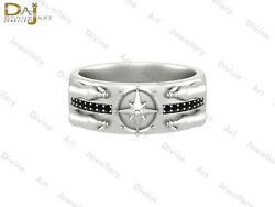 Message Bottle Nautical Compass Band Black Diamond Star Compass Ring For Unisex