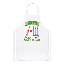 Beware Crazy Cricket Man Chefs Apron - Funny Sport Cooking Baking