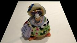 2003-2008 Fitz And Floyd Fun Funds Born To Shop Cow Ceramic Coin Bank