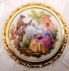 Gorgeous Serenade Gold Plated Antique French Porcelain Brooch Limoges