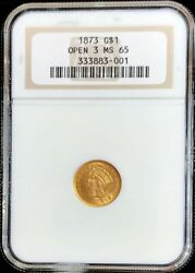 1873 Open 3 Gold United States Princess Head 1 Dollar Coin Ngc Mint State 65