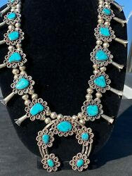 Vintagsquash Blossom Sterling Silver With Bisbee Turquoise Stones With Ear Rings