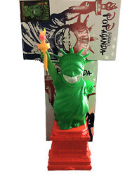 New Ron English Mindstyle Uv Green Lady Liberty Grin With Box And Base 2015 22in
