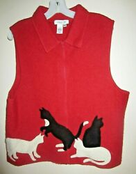 Coldwater Creek Red 100 Wool Cat Lover Kitty Sweater Vest Xl  Full Zip