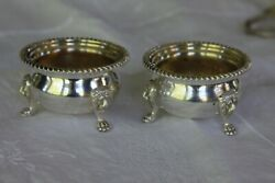 Antique Small Lion Footed Silver Plated Pair Of Bowls Ms Stamped