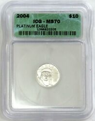 2004 Platinum 10 Statue Of Liberty 1/10 Oz American Eagle Icg Mint State 70