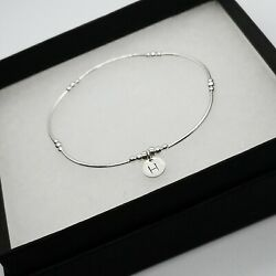 Sterling Silver Noodle Bracelet Initial Personalised A-z Gift Uk Xmas New