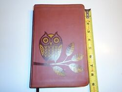 Owl Bible By Thomas Nelson 1982 Soft Cover Giant Print Clean Brown Redletter