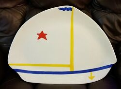 Metlox Large Nautical Sailboat Shaped Platter Plate-rare And Unusual-commissioned
